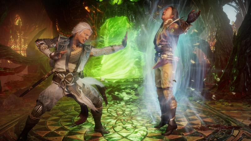 Fujin y Shang Tsung luchando.